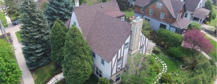 aerial view of historic home for sale in Minneapolis