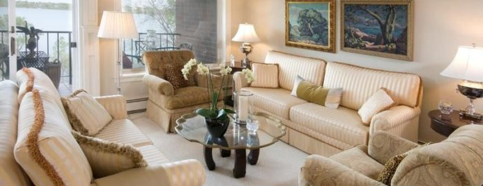condo living room with lakefront views