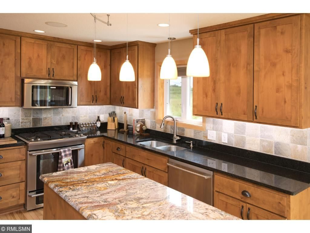 kitchen counter and appliances in home