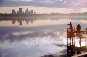A beautiful view of Minneapolis across Lake Calhoun.