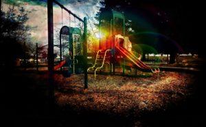 Playground at sunset.